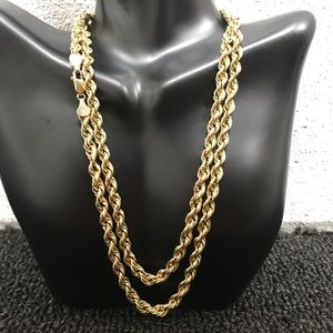 """14K Gold 32"""" ROPE CHAIN 5mm NECKLACE 16.3 Grams"""